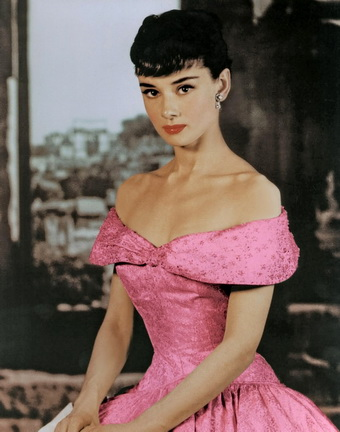 audrey-hepbuen-pink-off-shoulder-dress