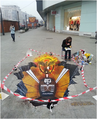 daniel relenschi pictura 3D pe asfalt