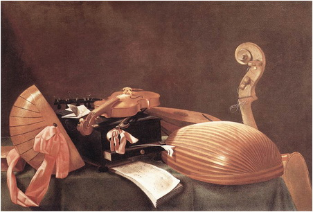 evaristo baschenis natura moarta cu instrumente muzicale
